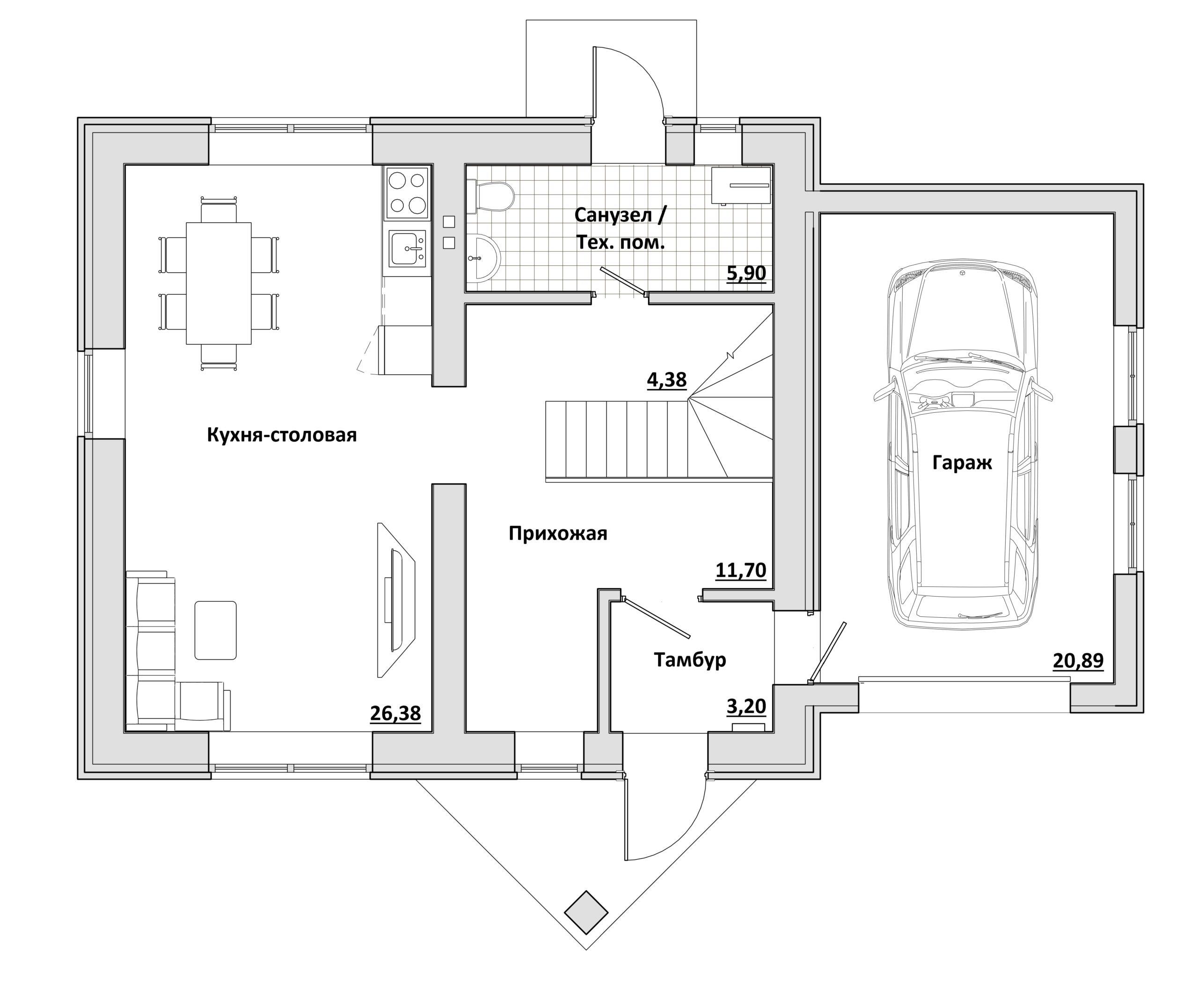 Малый с гаражом - План 1-го этажа