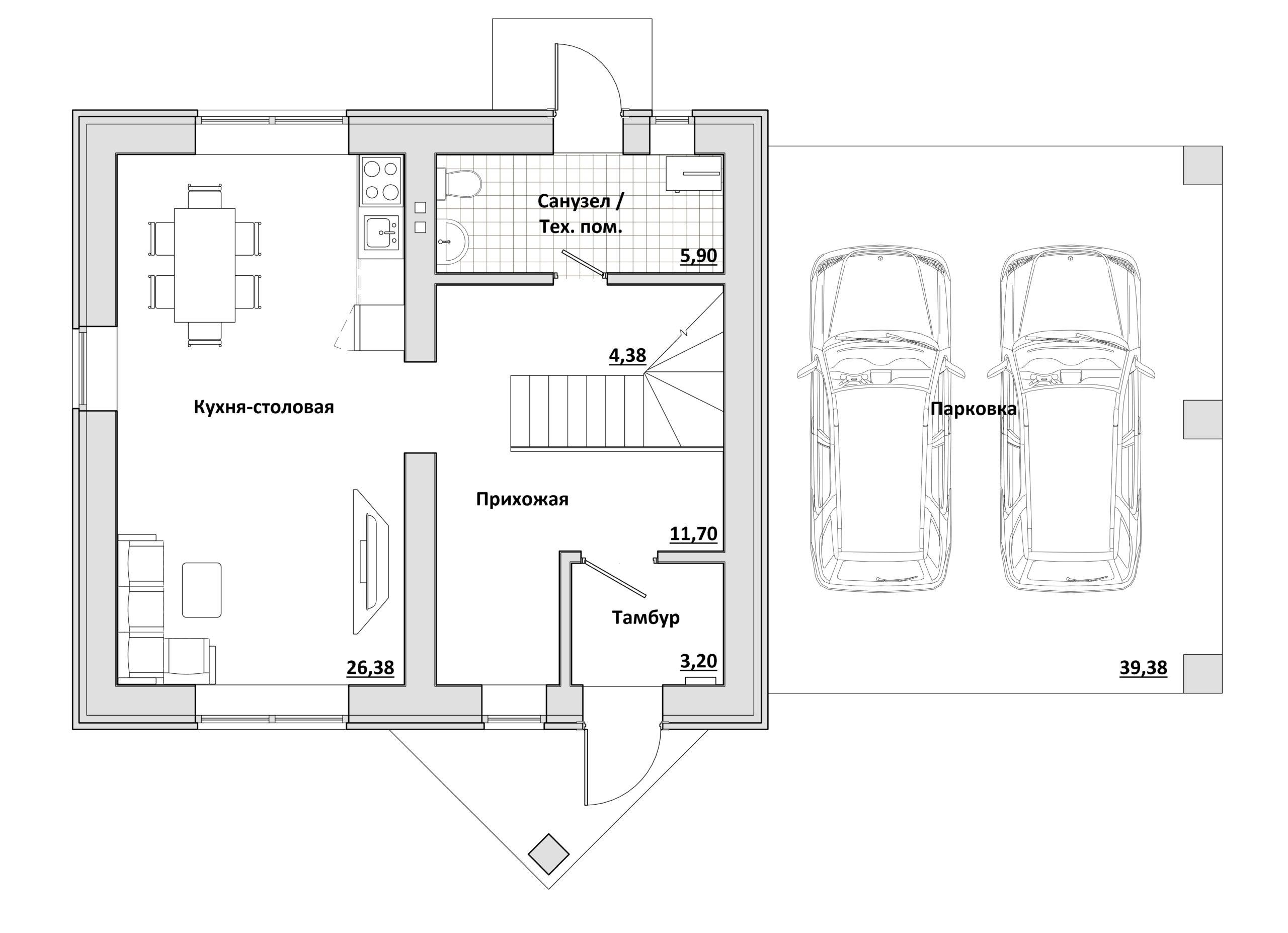 Малый с навесом - План 1-го этажа