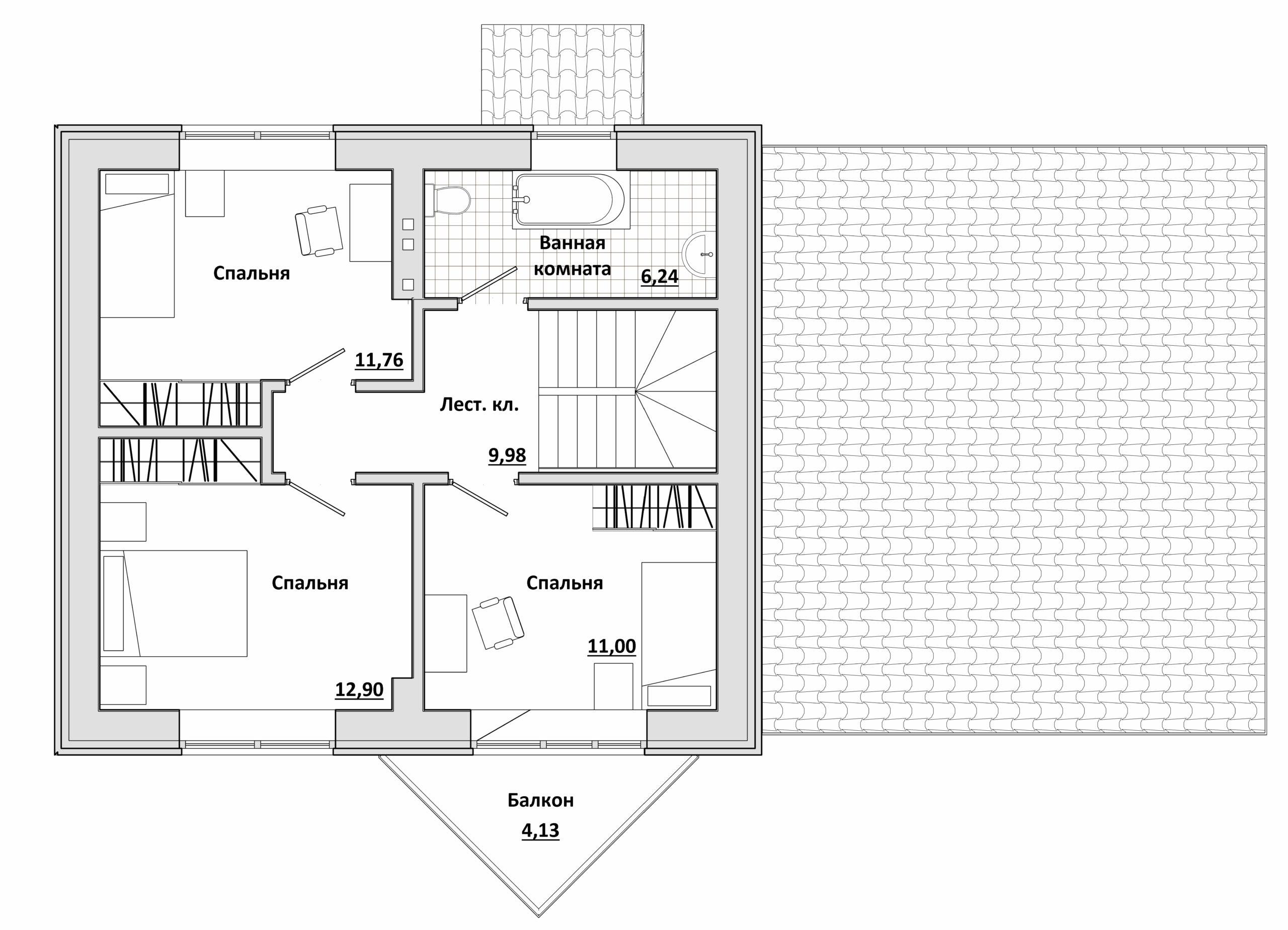 Малый с навесом - План 2-го этажа