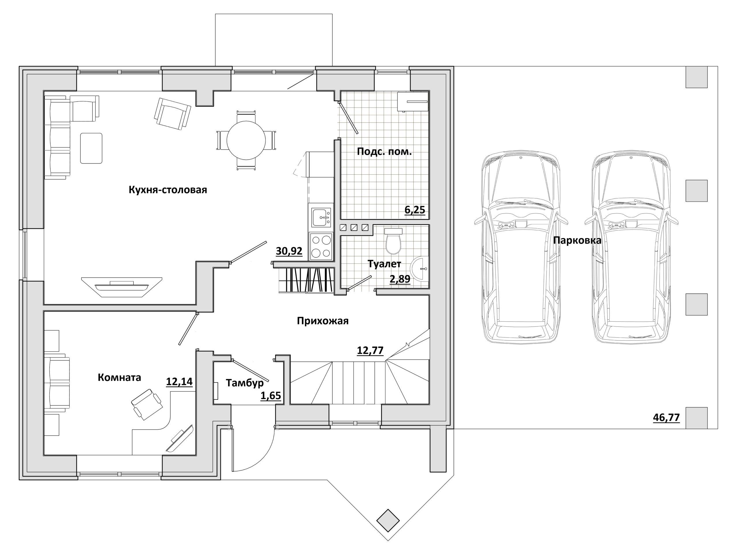 Большой с навесом - План 1-го этажа