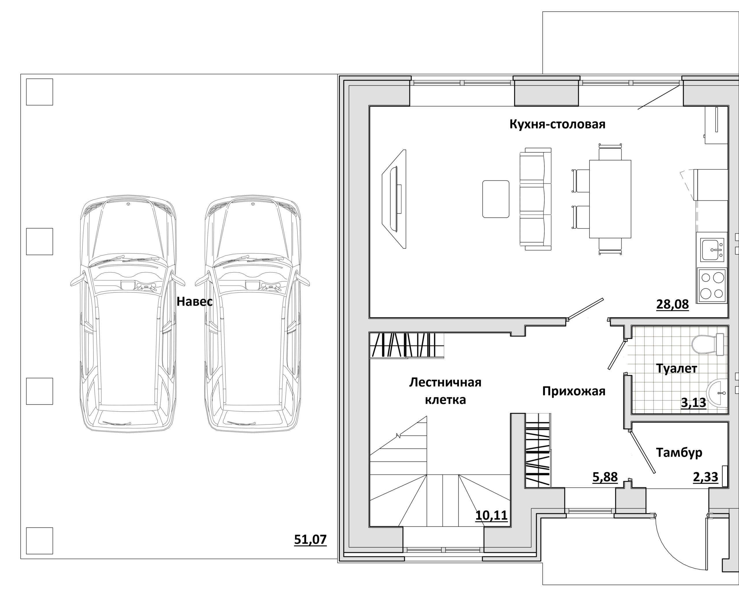 Дуплекс - План 1-го этажа ЛЕВЫЙ