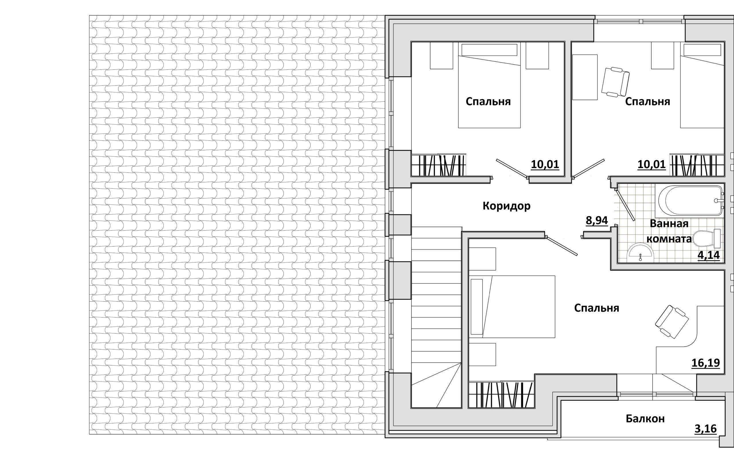 Дуплекс - План 2-го этажа ЛЕВЫЙ