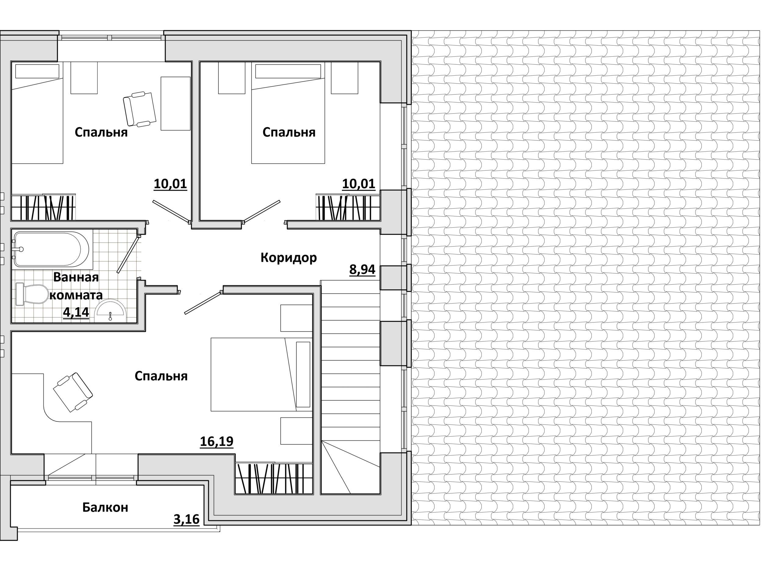Дуплекс - План 2-го этажа ПРАВЫЙ