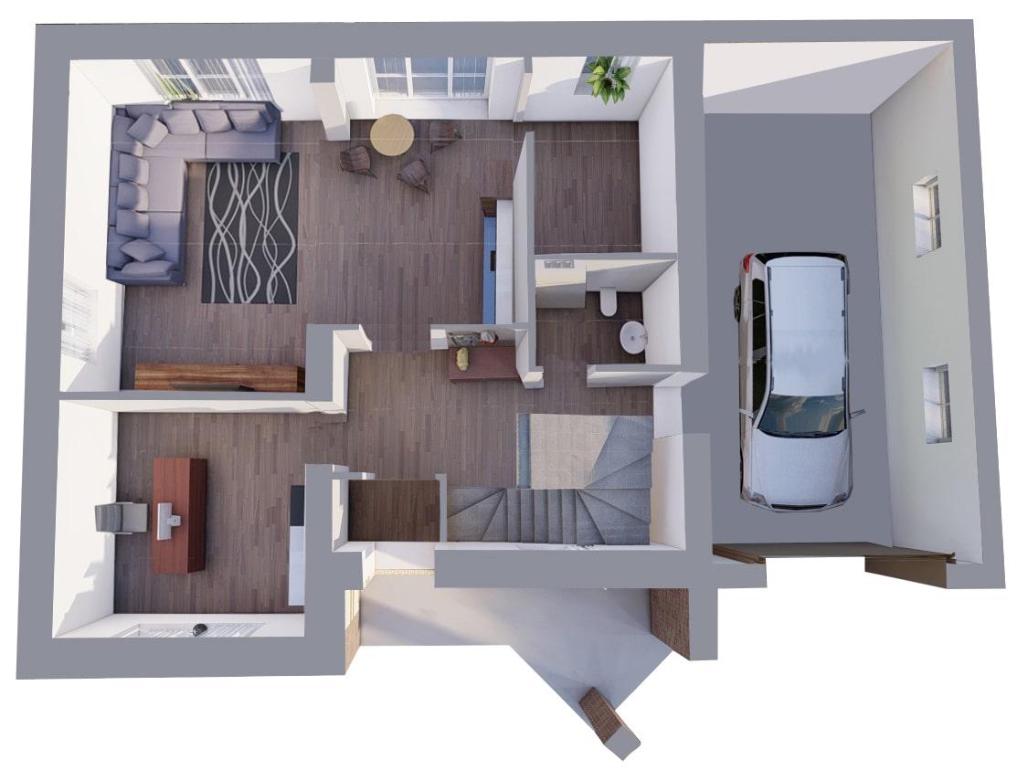 Большой с гаражом - План 1-го этажа