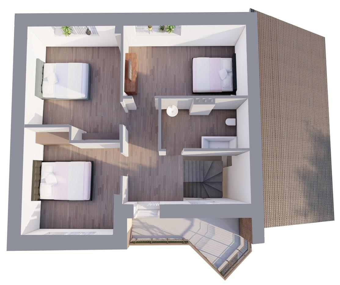 Большой с гаражом - План 2-го этажа