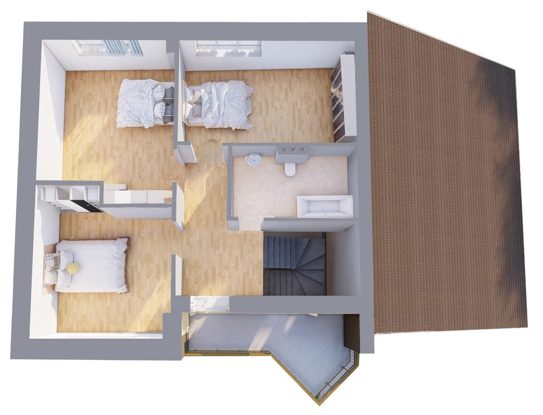 Большой с навесом - План 2-го этажа