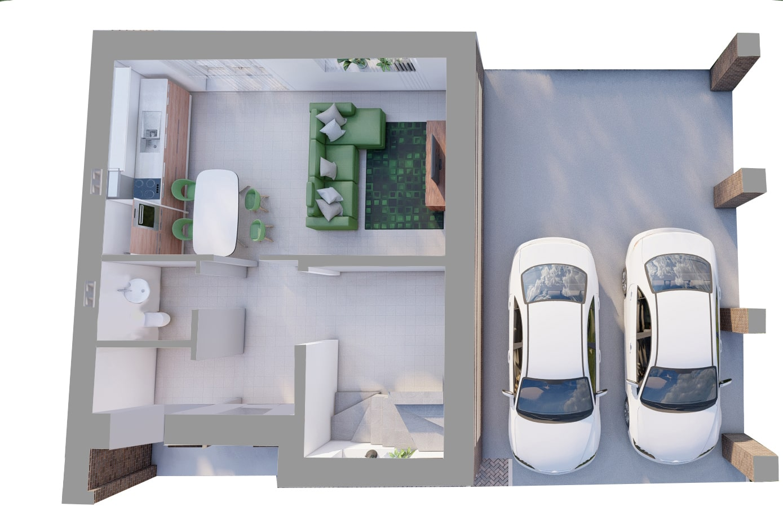 Дуплекс - План 1-го этажа ПРАВЫЙ
