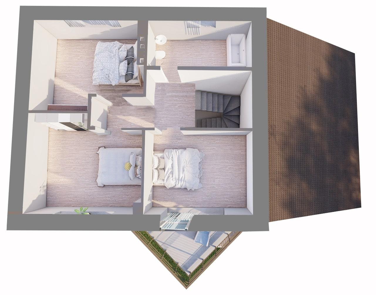 Малый с гаражом - План 2-го этажа